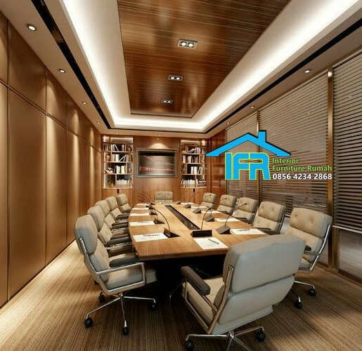set meja kantor meeting pimpinan mewah