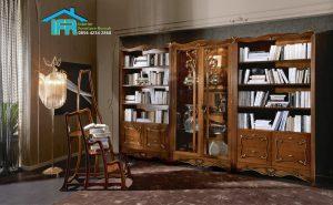 lemari pajangan buku mewah minimalis